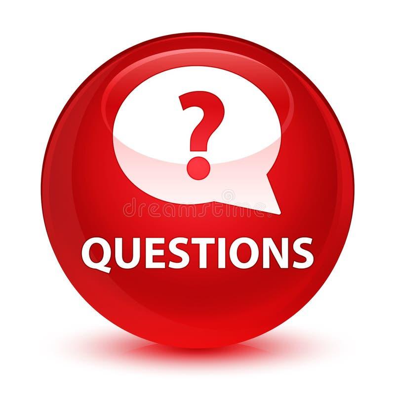 Interroga (icona della bolla) il bottone rotondo rosso vetroso illustrazione di stock