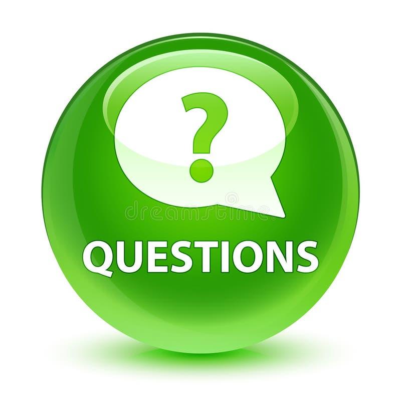 Interroga (icona della bolla) il bottone rotondo verde vetroso royalty illustrazione gratis