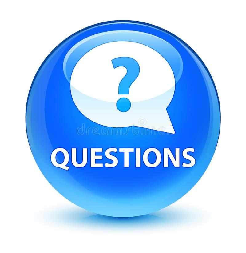 Interroga (icona della bolla) il ciano bottone rotondo blu vetroso royalty illustrazione gratis