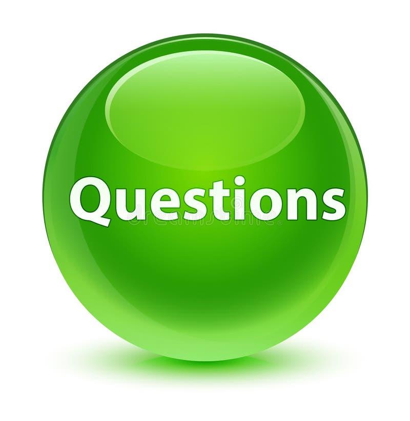 Interroga il bottone rotondo verde vetroso illustrazione di stock
