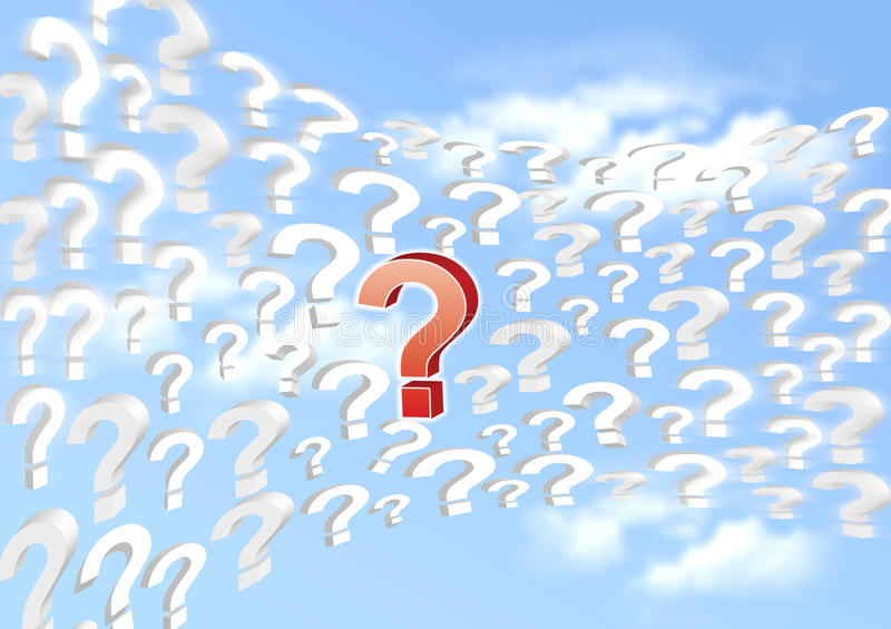 Interrogative Sign On The Blue Sky Stock Image