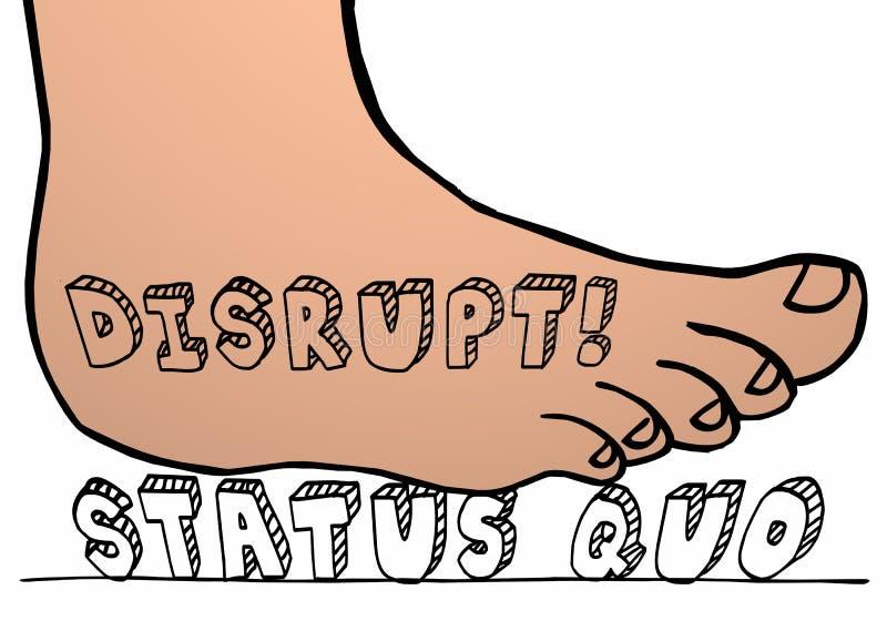 Interrompa il piede di status quo che schiaccia il cambiamento di parola illustrazione vettoriale