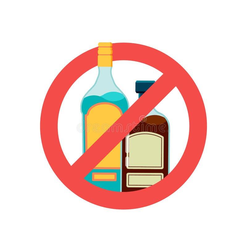Interrompi segno di alcool Bevanda alcolica, birra in rosso simbolo di divieto Nessuna illustrazione vettoriale di alcoli royalty illustrazione gratis