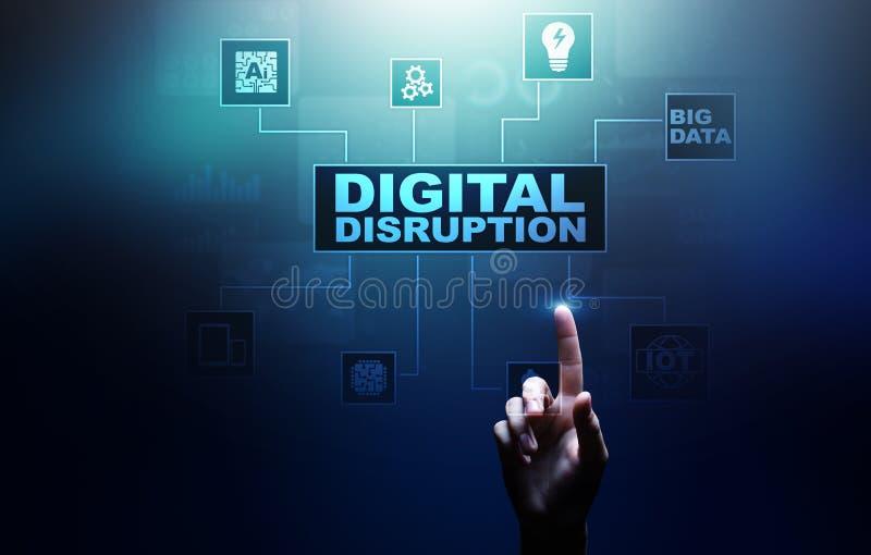 Interrupción de Digitaces Ideas perturbadoras del negocio IOT, red, ciudad elegante y máquinas, datos grandes, inteligencia artif imagen de archivo