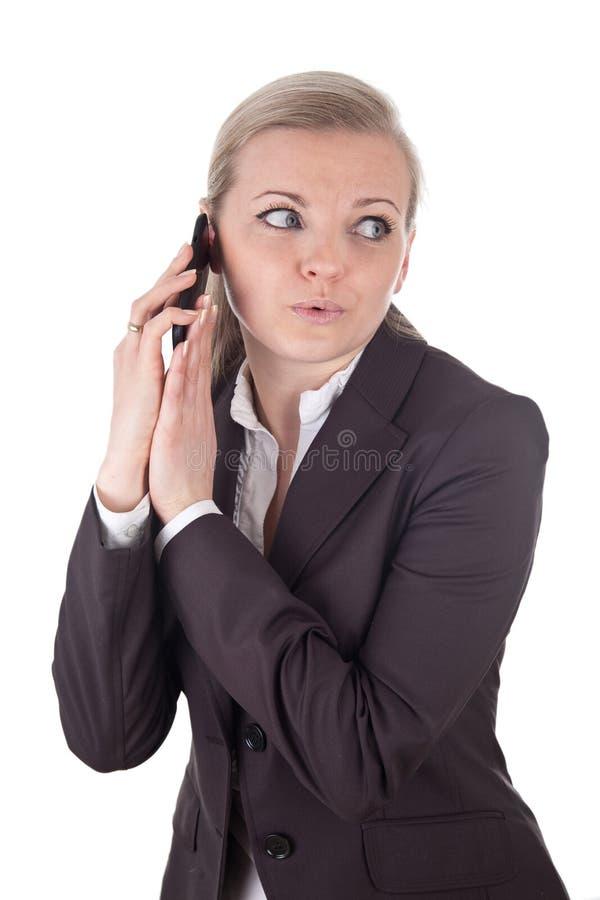 Interrupción durante una llamada de teléfono imágenes de archivo libres de regalías