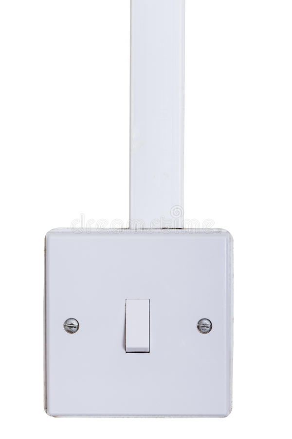 Interrupteur de lampe monté sur le mur blanc image stock