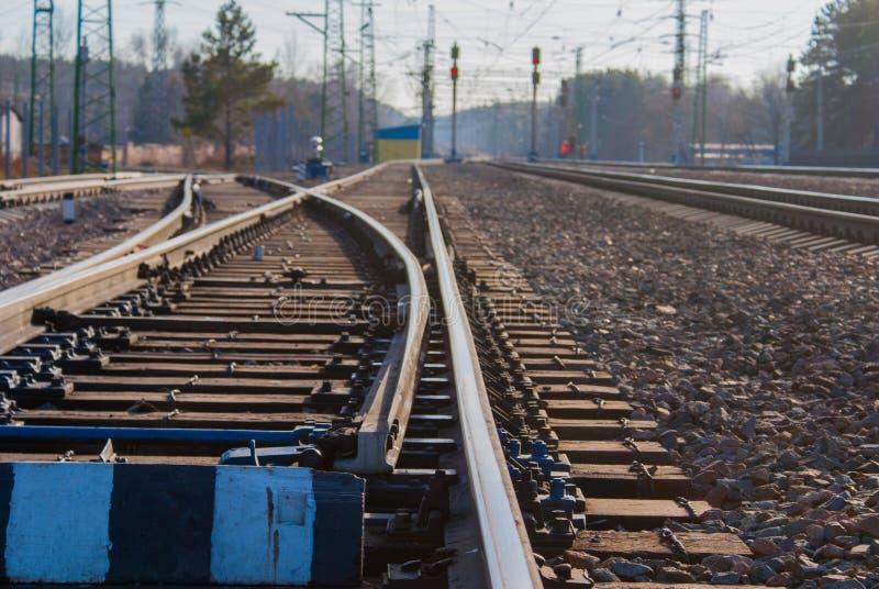 Interruptor da estrada de ferro, parte da infraestrutura da facilidade de classificação da carga fotos de stock royalty free