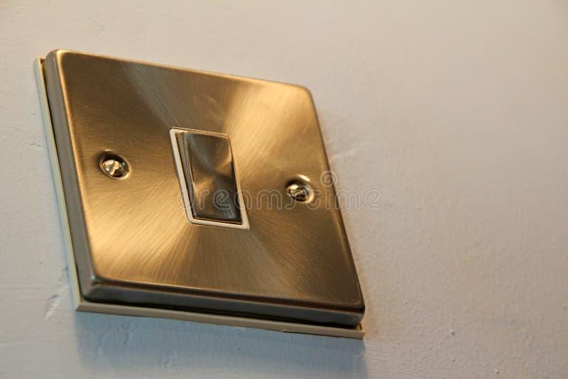 Interruptor de aluminio cepillado de la pared fotografía de archivo libre de regalías