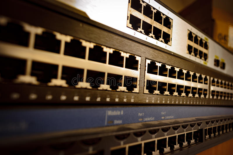Interruptor de Ethernet imagenes de archivo
