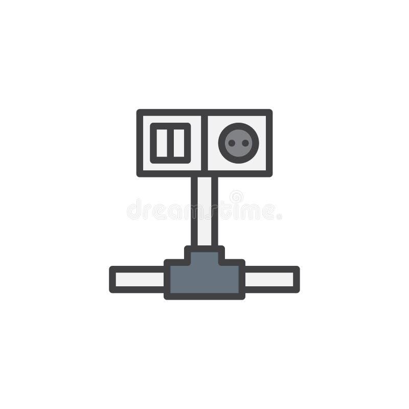 Interruptor de fiação e ícone enchido soquete do esboço ilustração do vetor