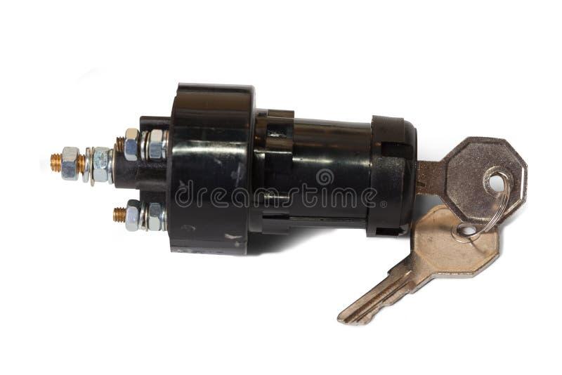 Interruptor de ignición con clave de ignición imágenes de archivo libres de regalías