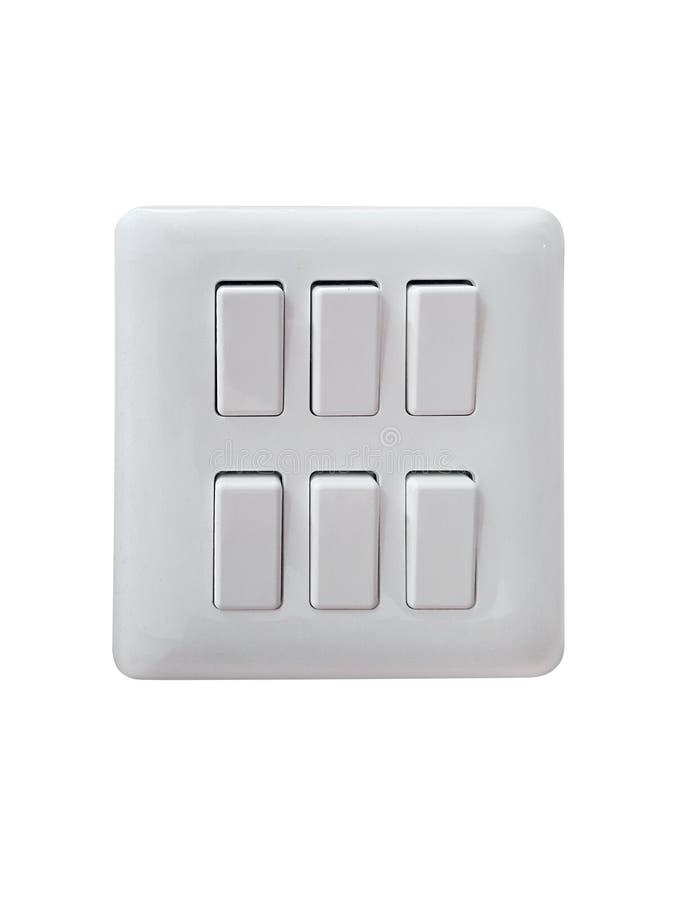 Interruptor de la luz doble aislado en el fondo blanco foto de archivo
