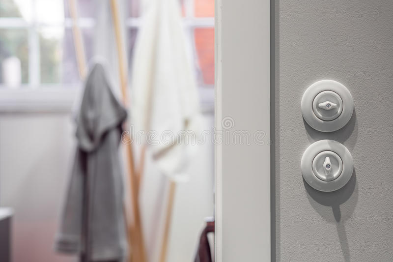 Interruptor de la luz redondo blanco fotos de archivo libres de regalías