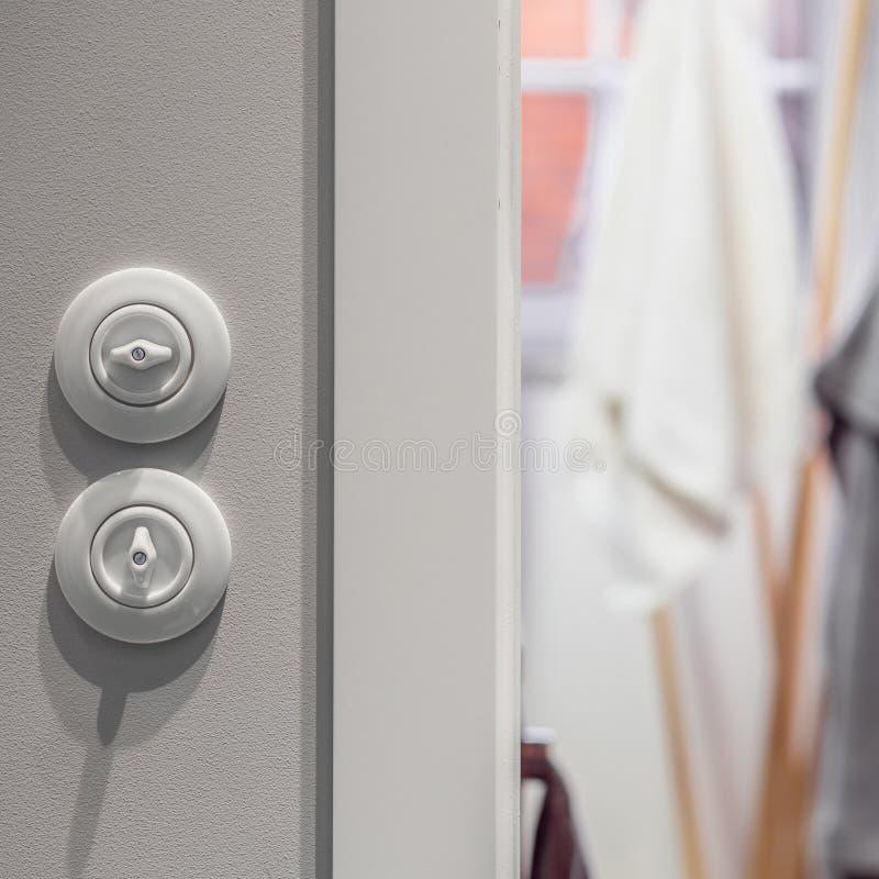 Interruptor de la luz redondo blanco foto de archivo libre de regalías