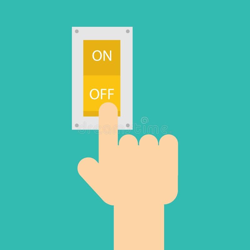 Interruptor de la prensa de la mano para el apagar la luz foto de archivo libre de regalías