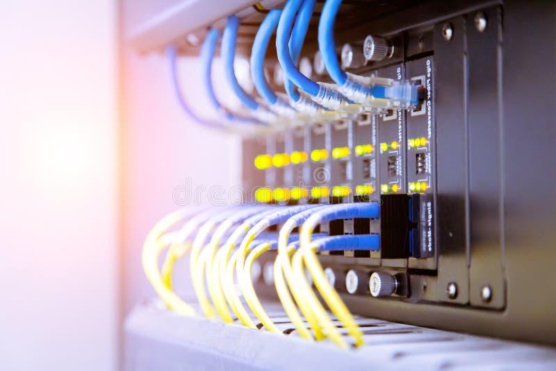 Interruptor de rede e cabos ethernet, conceito do centro de dados fotografia de stock