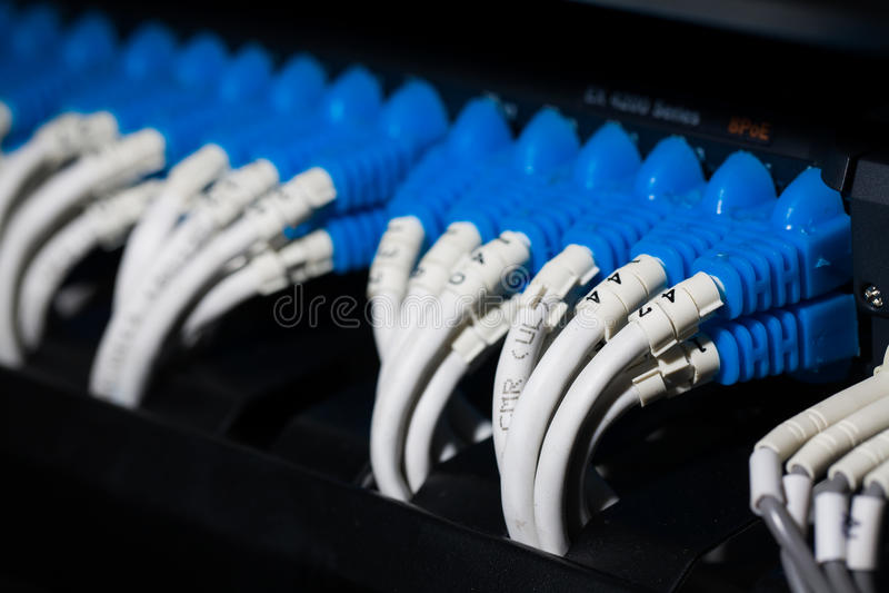 Interruptor de rede e cabos ethernet de UTP imagens de stock royalty free