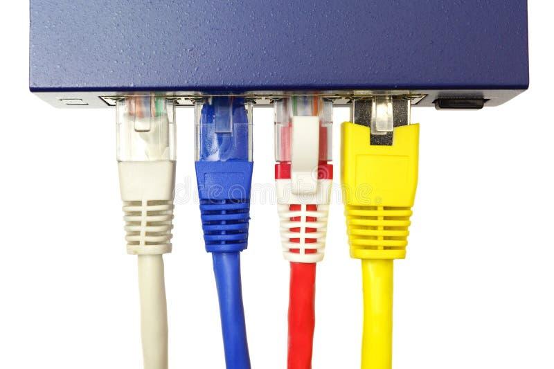 Interruptor de rede e cabos ethernet de UTP imagem de stock