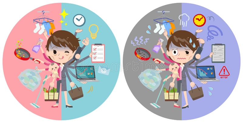 Interruptor de tarea gris del condition_mulch de las mujeres de negocios del traje mún libre illustration