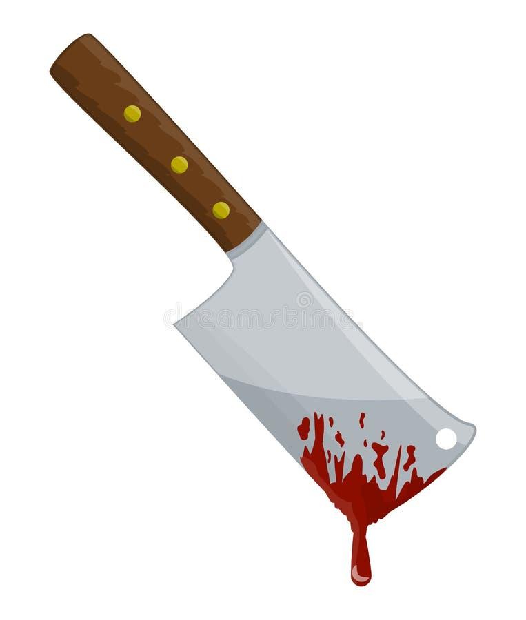 Interruptor del carnicero de la cocina con diseño del icono del símbolo del vector de la sangre ilustración del vector