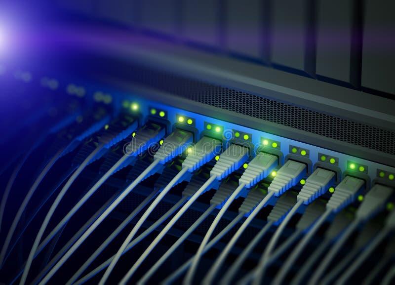 Interruptor del servidor de red con destellar del LED stock de ilustración