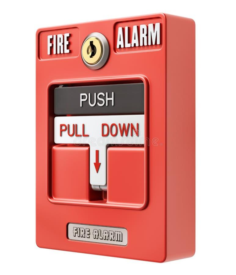 Interruptor do alarme de incêndio com impulso um botão da tração ilustração stock
