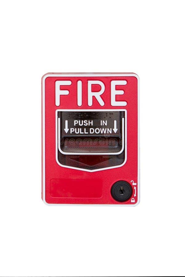 Interruptor do alarme de incêndio isolado no fundo branco imagem de stock