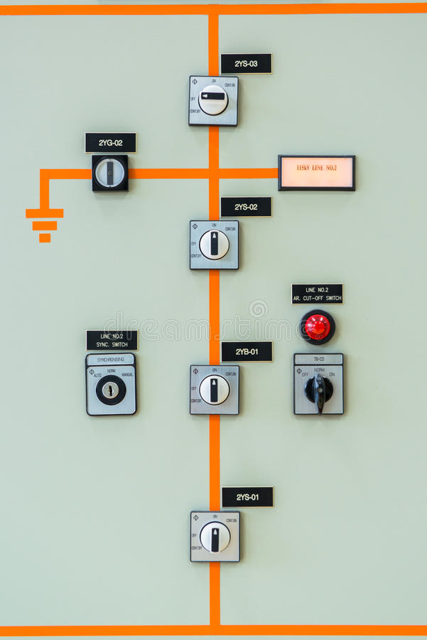 Interruptor do controlador na central elétrica foto de stock royalty free