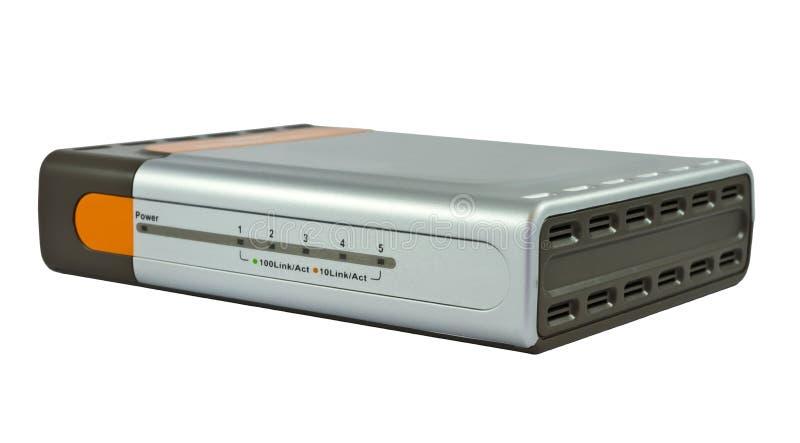 Interruptor do Ethernet no fundo branco imagens de stock royalty free