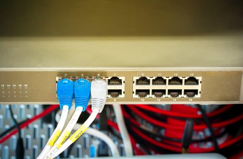 Interruptor e cabos ethernet de rede fotos de stock