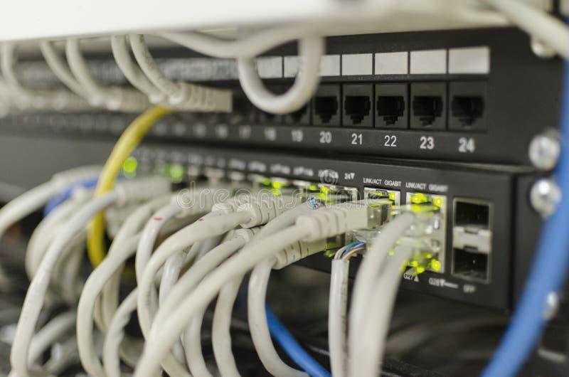 Interruptor e cabos ethernet de rede imagem de stock royalty free