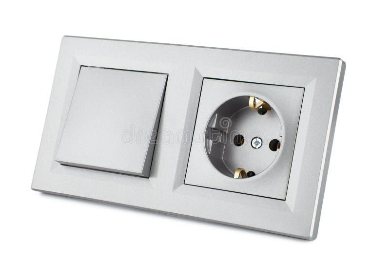 Interruptor eléctrico estándar europeo y zócalo, sistema para el cableado eléctrico del hogar aislado imagenes de archivo