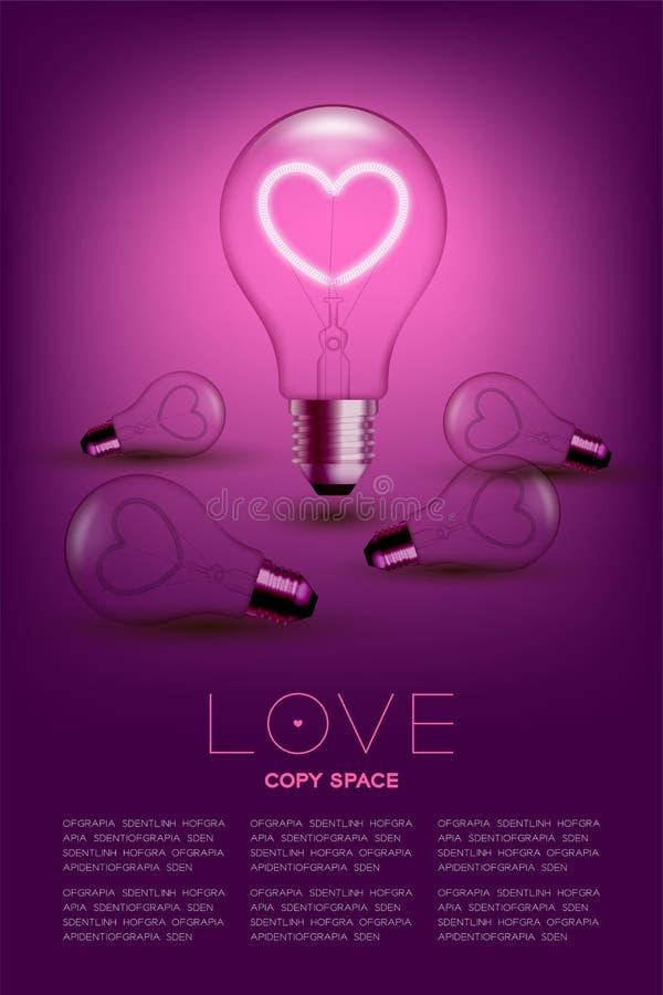 Interruptor incandescente da ampola do alfabeto no coração do amor do grupo com conceito quebrado do Valentim, ilustração ilustração royalty free