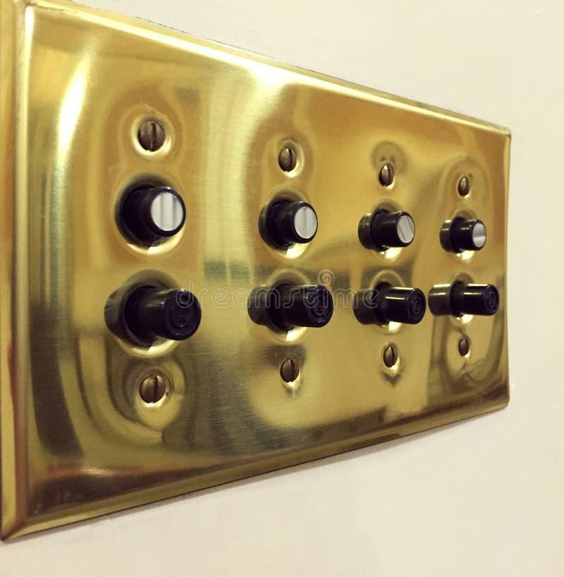 Interruptores de la luz del múltiplo del botón del vintage fotografía de archivo