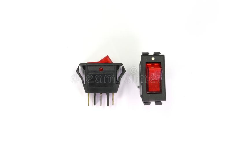 Interruptores del negro del conmutador con el contraluz, con./desc. - posición aislado respecto al fondo blanco fotografía de archivo