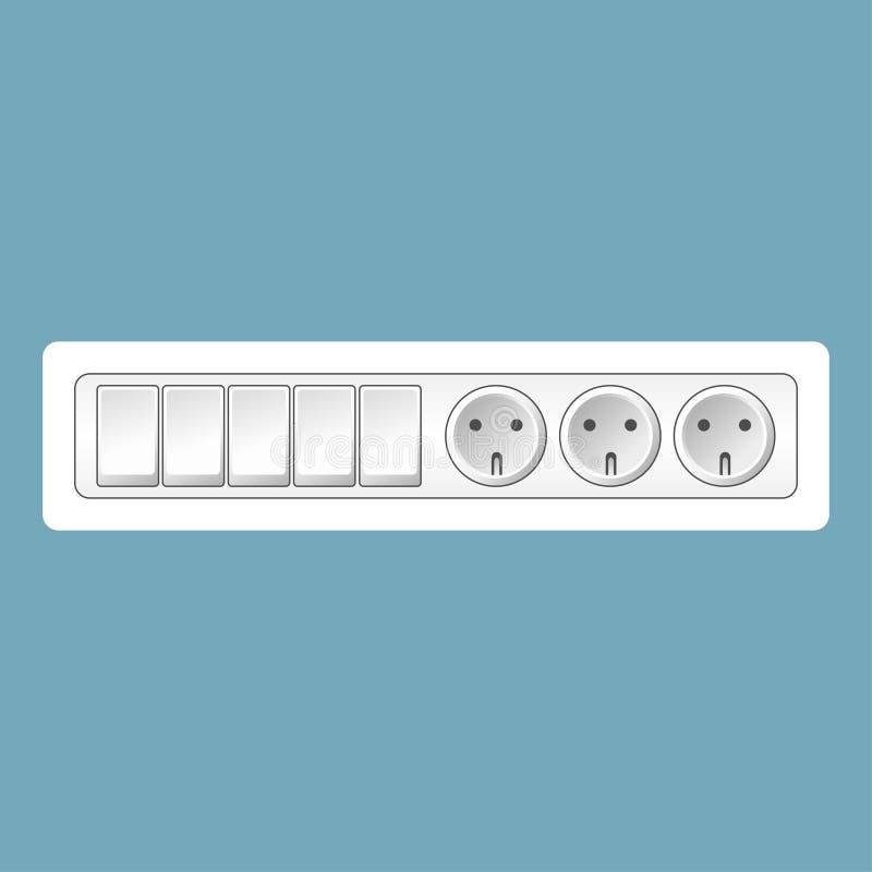 Interruptores realísticos do vetor e grupo brancos do soquete isolado no fundo azul Molde do projeto em EPS10 ilustração royalty free