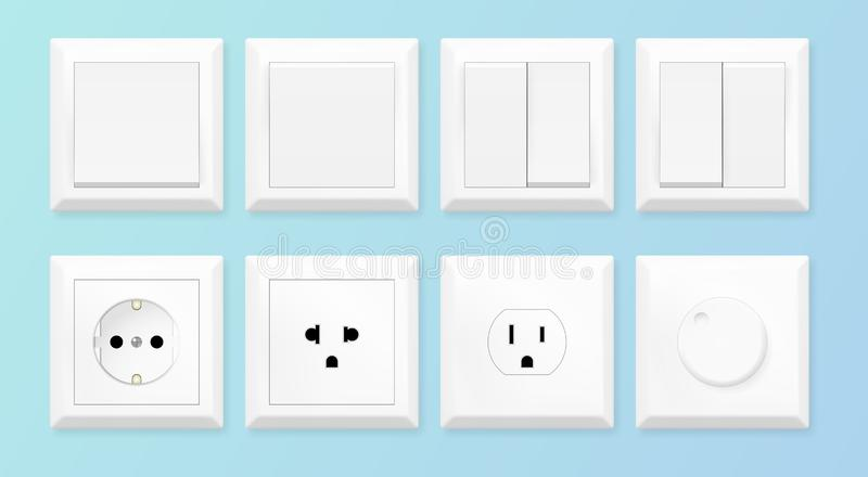 Interruptores y sistema blancos realistas del zócalo Estándares europeos y americanos del zócalo de poder Ilustración del vector stock de ilustración