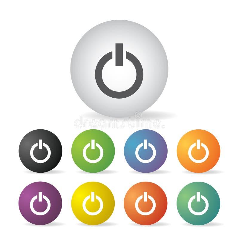 Interruttore di accensione fuori dall'insieme dell'icona illustrazione di stock
