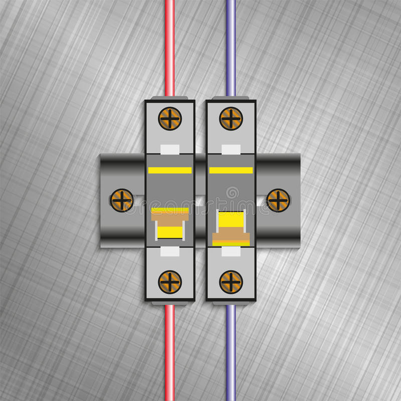 Interruttore modellato di caso Blocchetti elettrici del fusibile Illustrazione di vettore immagini stock libere da diritti