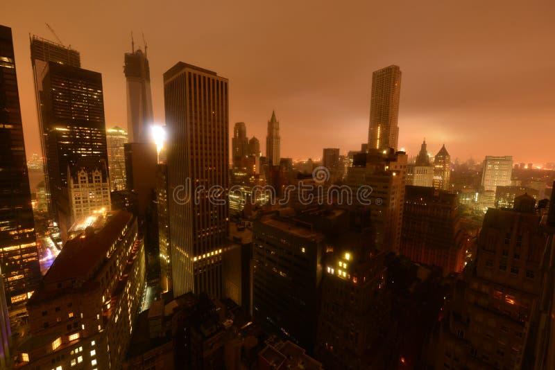 Interruzione elettrica del centro di Manhattan dovuto Sandy immagine stock