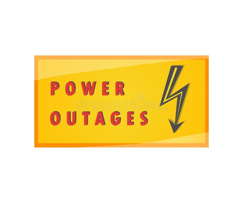 Interruzione elettrica Piatto d'avvertimento Vettore dell'elemento su un fondo isolato immagine stock libera da diritti