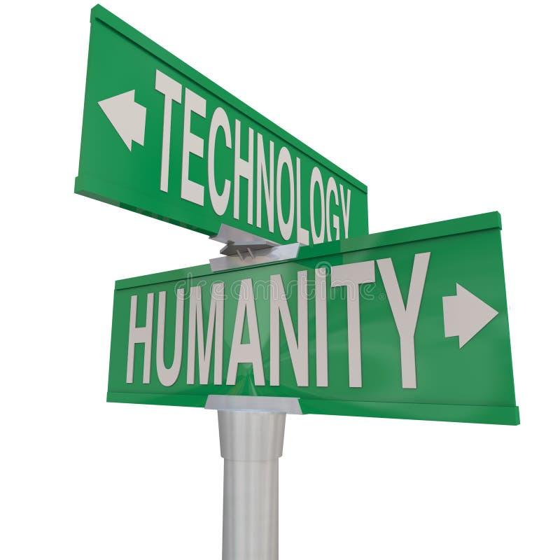 Interseção da era digital moderna da tecnologia e da humanidade contra o Na ilustração do vetor