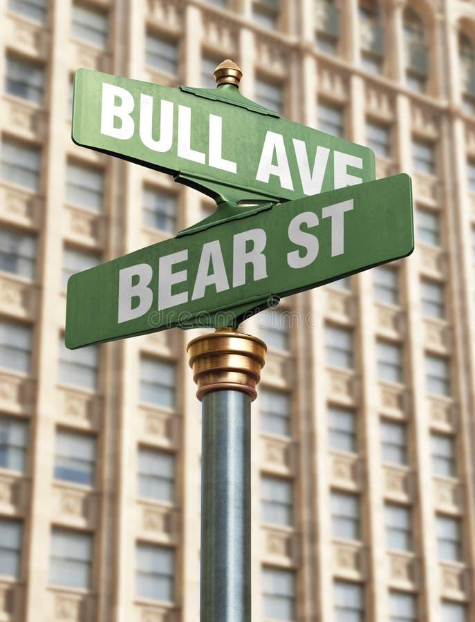Interseção do mercado de valores de acção imagem de stock