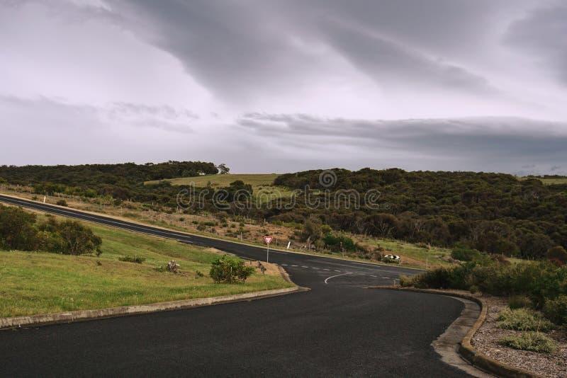 Interseção e tempestade da estrada fotografia de stock