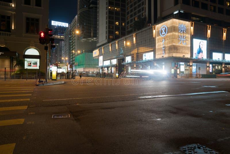 Interseção famosa da cidade na noite imagens de stock royalty free
