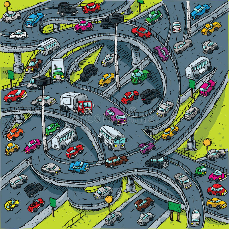 Interseção ocupada da estrada ilustração royalty free