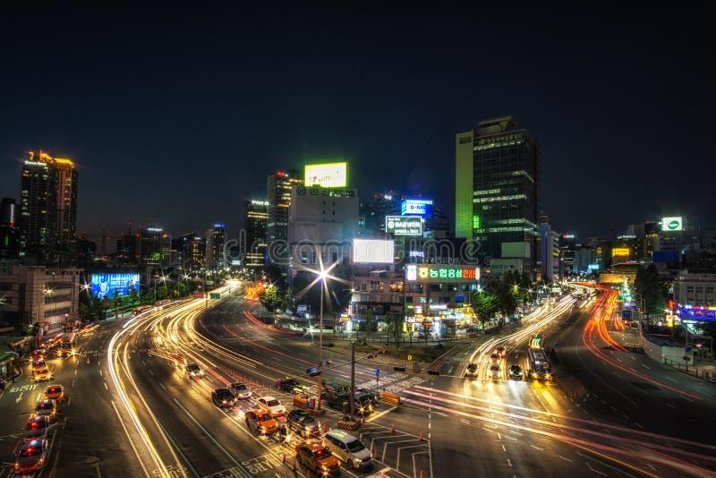 Interseção ocupada em seoul fotos de stock royalty free
