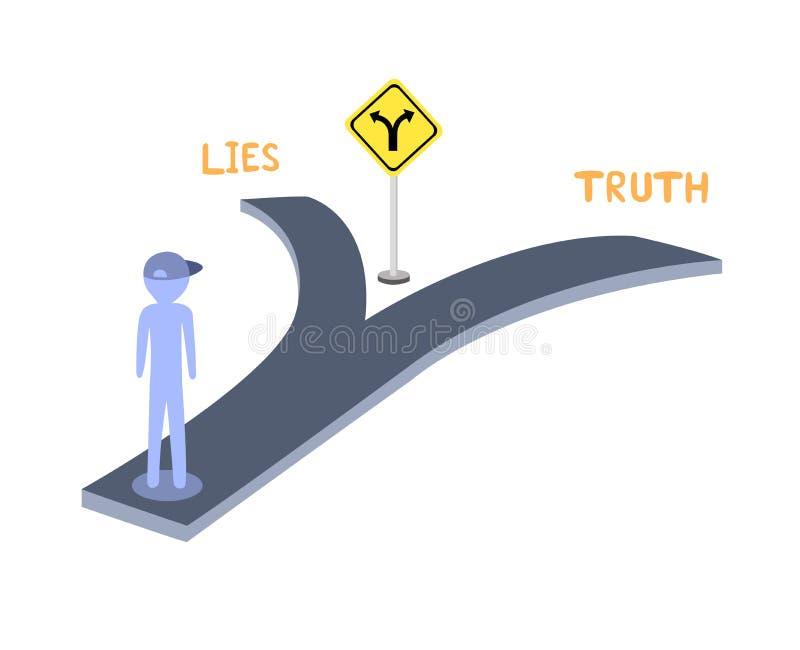 A interseção permite que você escolha entre a verdade e as mentiras Tomada de decisão com duas opções ilustração stock