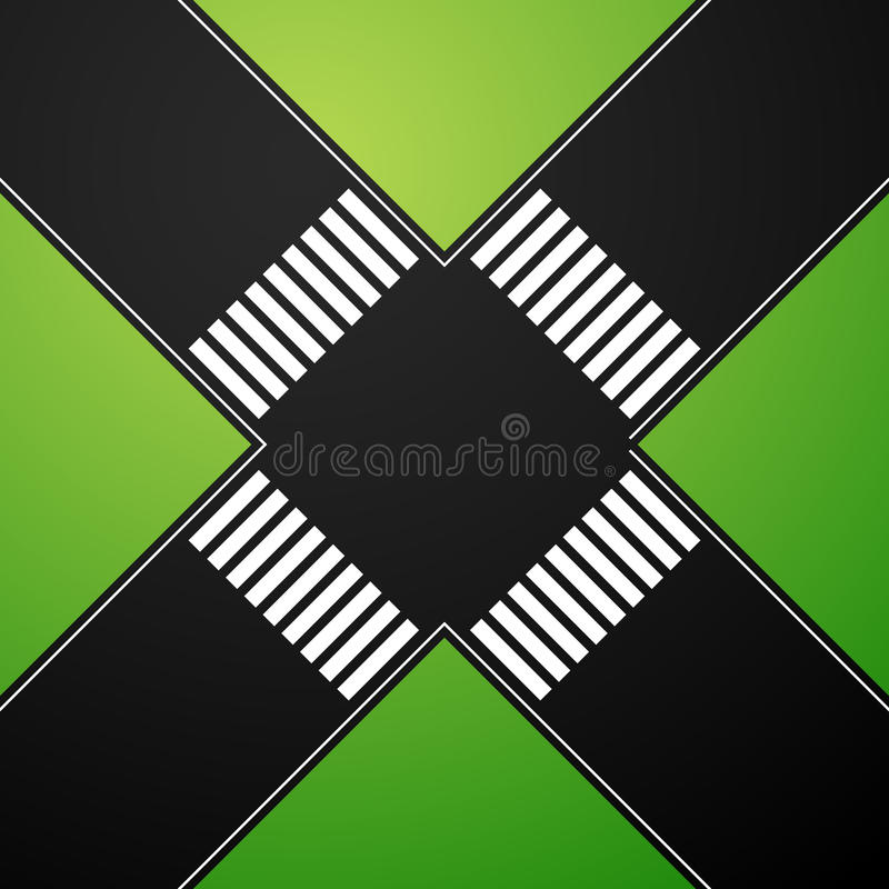 interseção 4-way com cruzamento pedestre ilustração royalty free