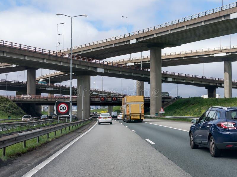 Intersección La Haya, Países Bajos de la autopista sin peaje A12 fotos de archivo libres de regalías
